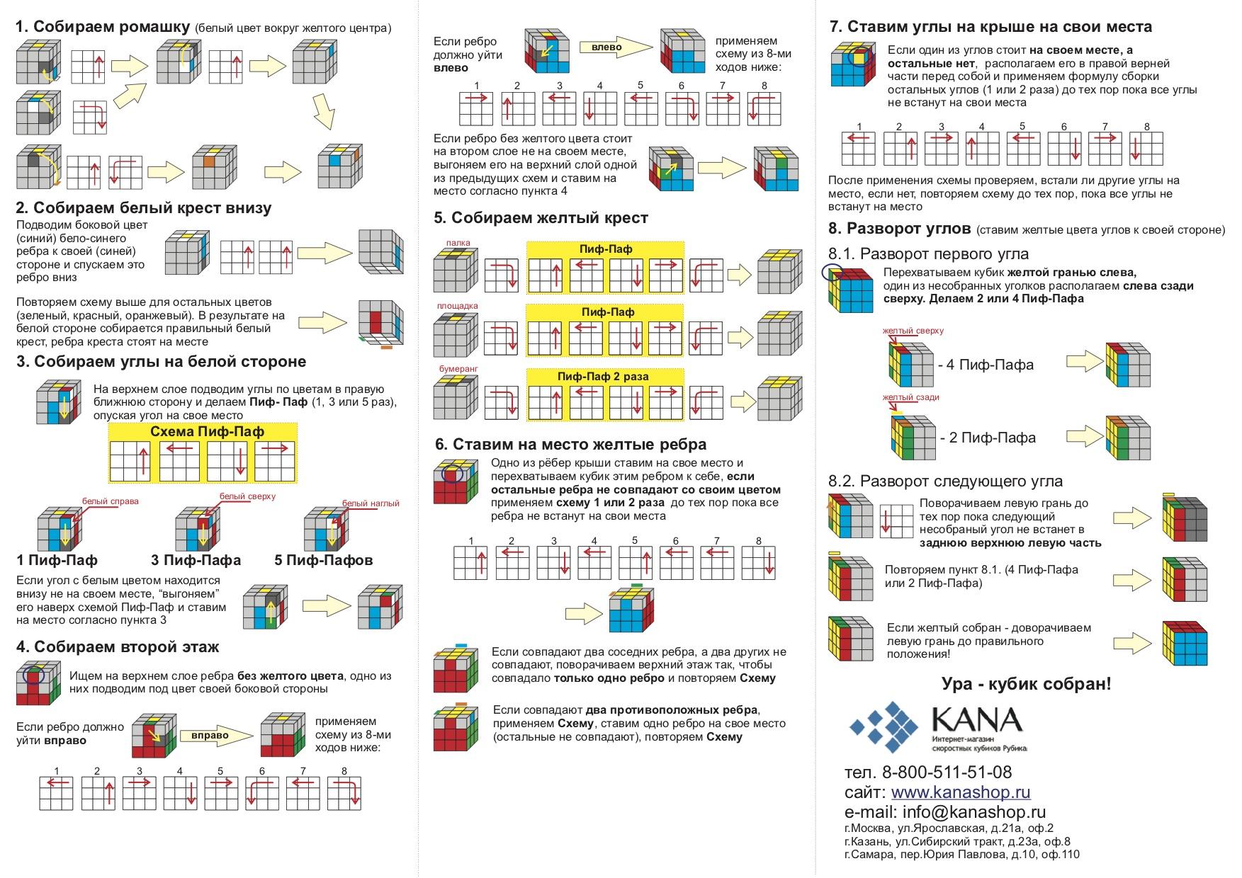 Схема сборки кубика рубика 3x3 фото 943